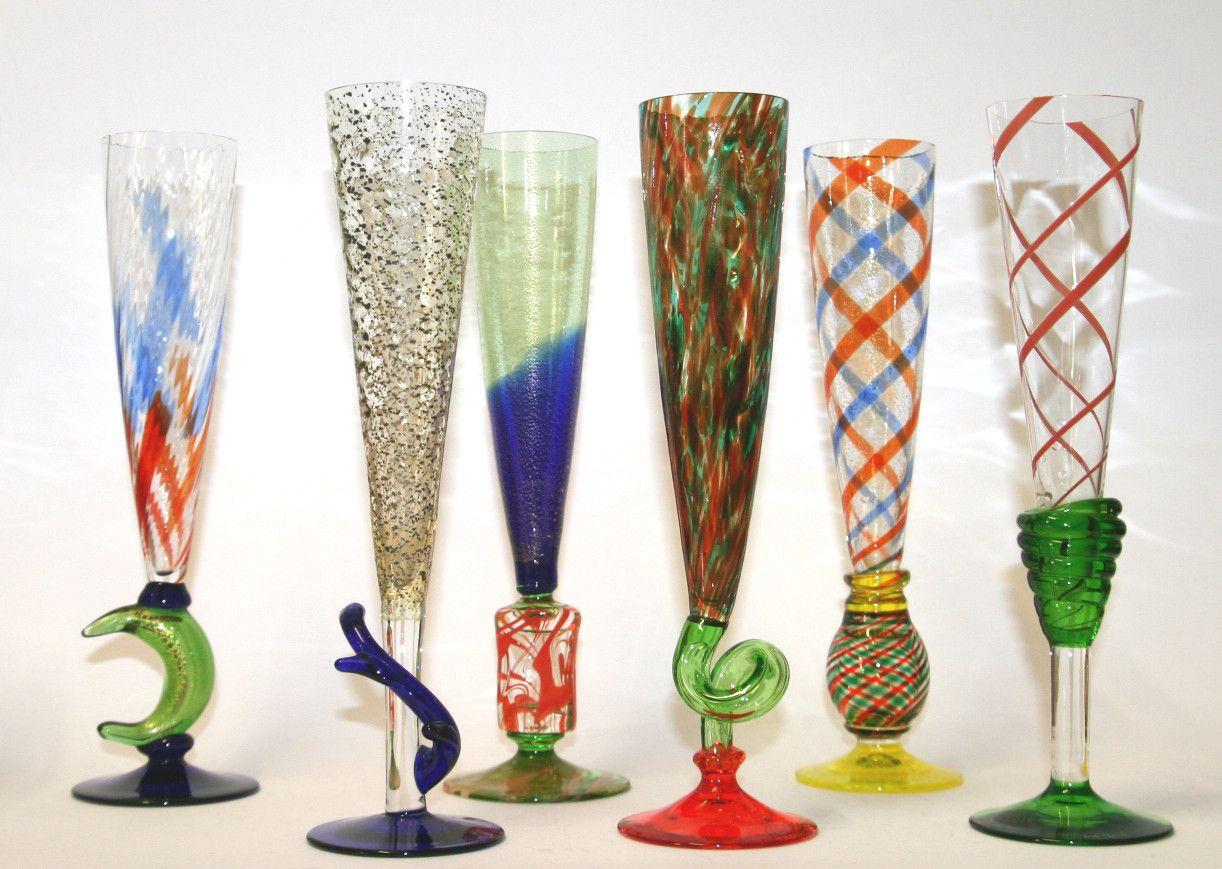 Carlo Moretti Murano 6 Stück Sektflöten | Dekoratives glas
