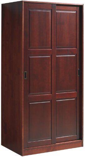 100% Solid Wood Wardrobe / Armoire / Closet With 2 Sliding Raised Panel  Doors,