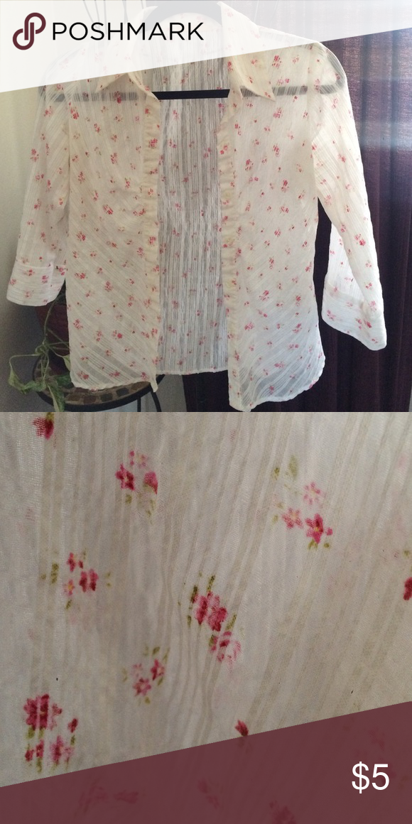 0350b3d0a Sheer 3/4 sleeve blouse Super cute and can be for work and play ...