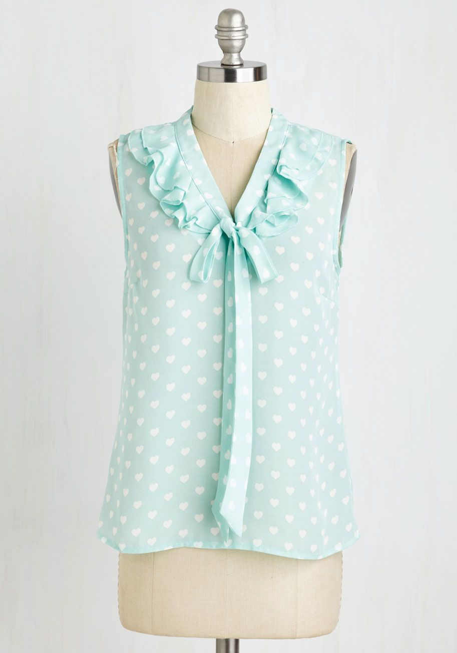 Scholarly Sweetheart Top. When its time to hit the books, do so in the saccharine style of this bow-tied blouse. #mint #modcloth