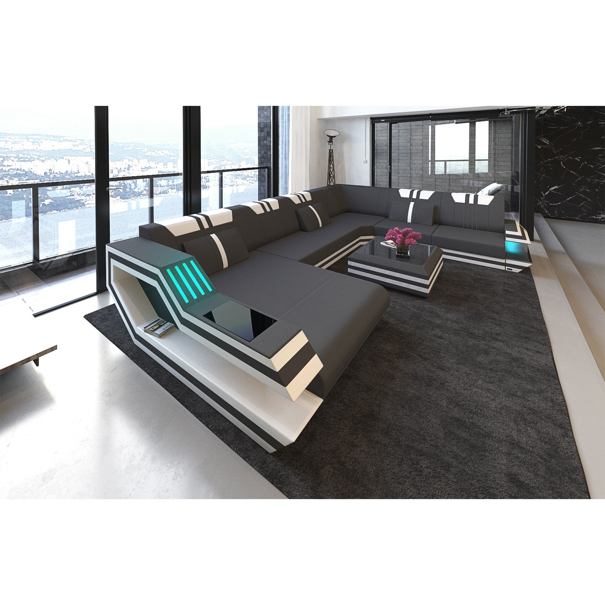 Astonishing Sofadreams Hollywood Xxl Leather Sectional Sofa With Led Machost Co Dining Chair Design Ideas Machostcouk