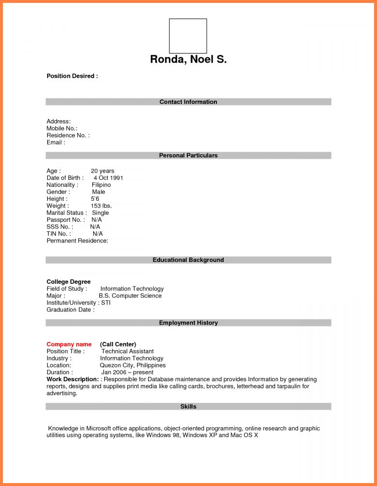 Resume Format For Job Fresher Huroncountychamber Com