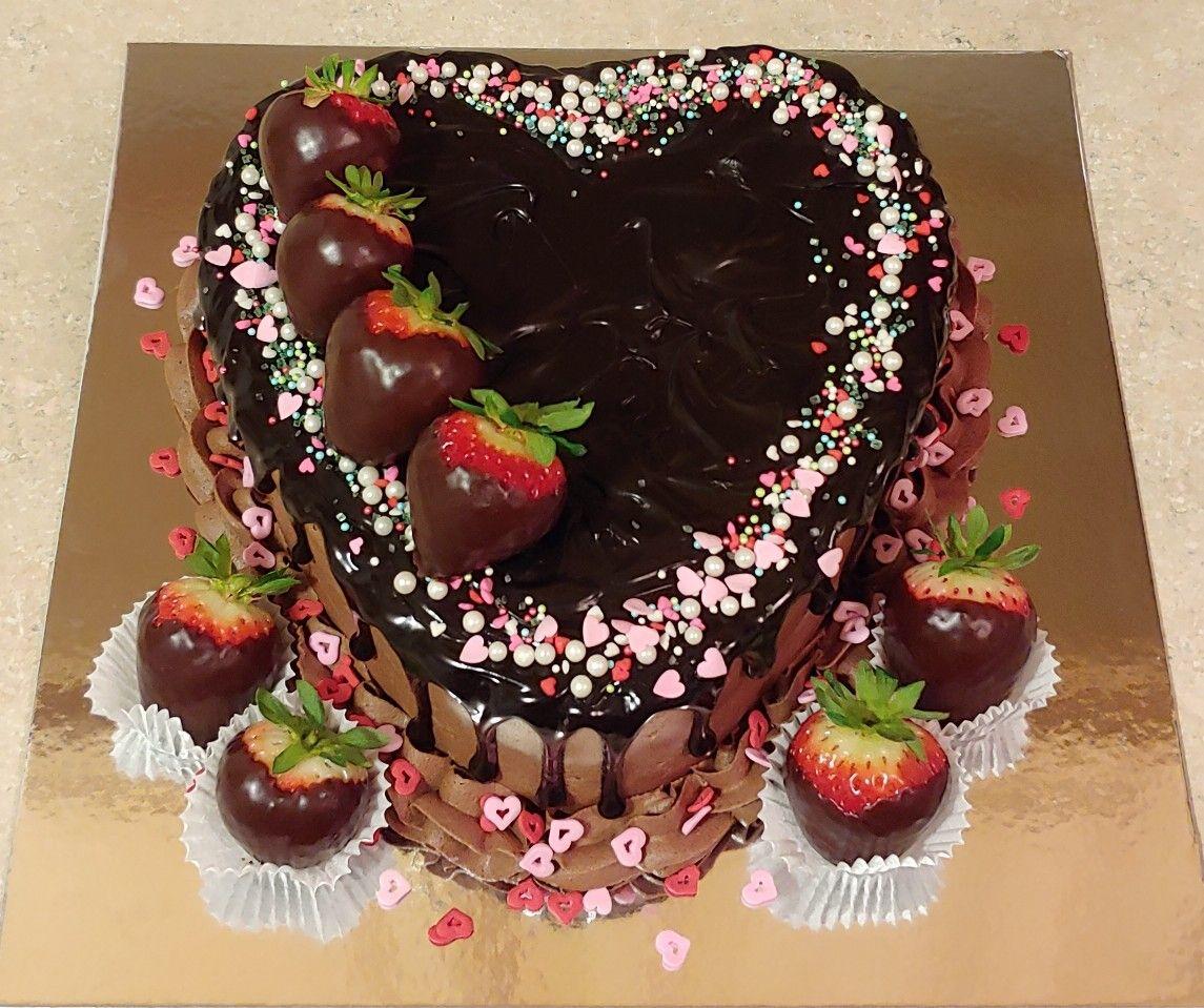 Valentine S Day Heart Chocolate Covered Strawberries Drip Cake
