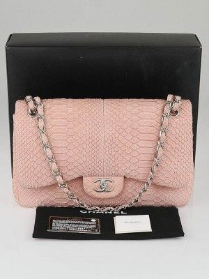 e524e4d0382daf Go glam with this gorgeous and ultra rare Chanel Pink Matte Python Jumbo  Double Flap Bag in this lovely pale pink color. It is made of python skin  in and ...
