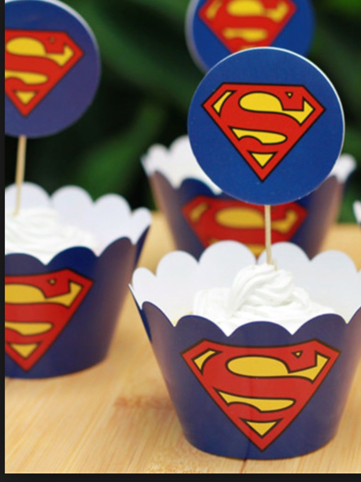 Superman Cupcake cup cake cases toppers wrappers party decoration