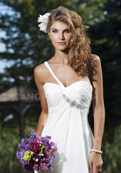 One Shoulder Sheath/ Column Chiffon Zipper up Floor Length Sleeveless Wedding Dress