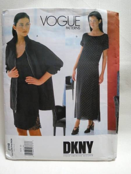 American Designer DKNY Sewing Pattern 2116 Jacket, Dress, Slip ...