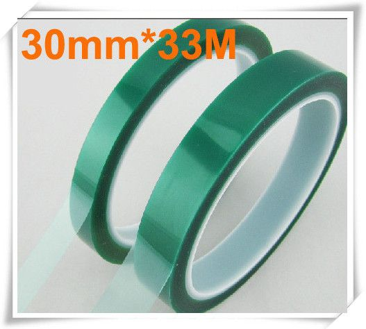30mm 33 Meters 0 06mm High Temperature Tape Resistant Pet Green Tape For Sticky Powder Coating Pcb Plating Shielding Plating Tape Powder Coating