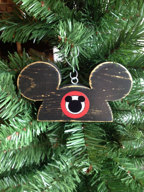 Mickey Mouse Christmas Wood Ornament Mouseketeer Hat Ears ...