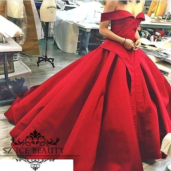 Vintage Red Ball Gown Evening Dress Long Plus Size Off The Shoulder ...