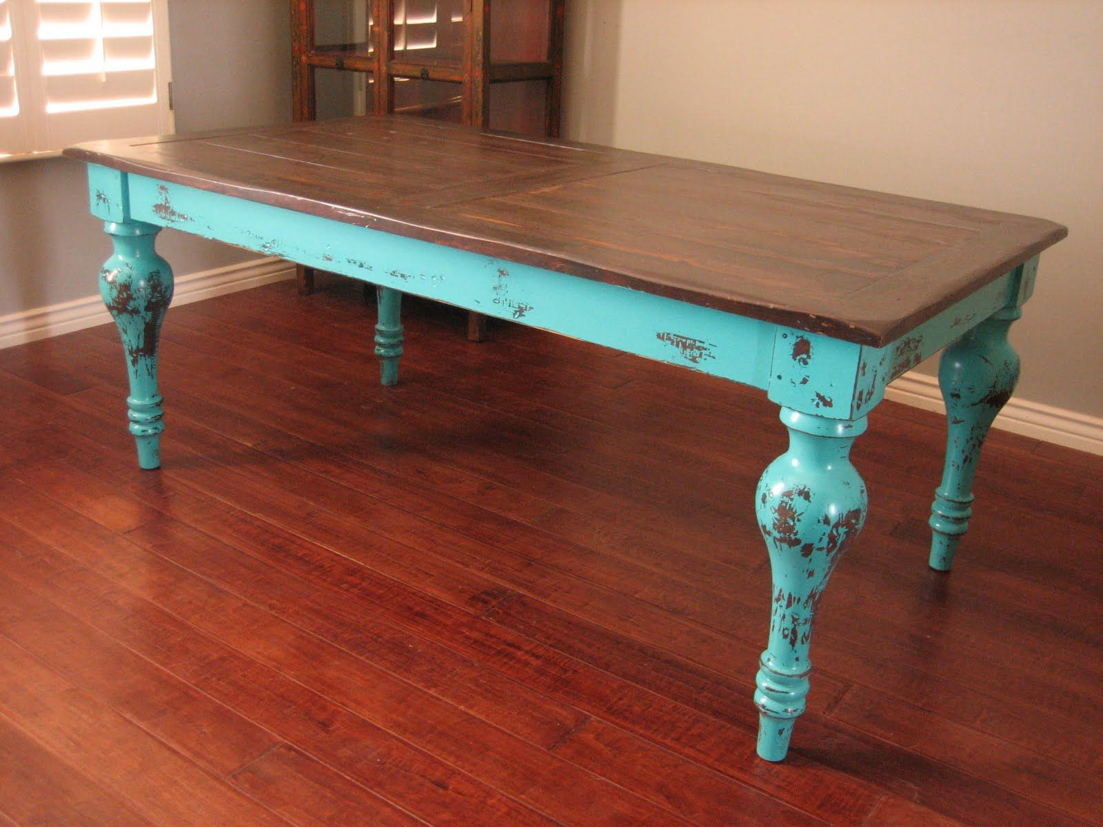 Small Rectangle Shape Shabby Chic Dining Table With Brown On Top Feat Soft Blue For Legs