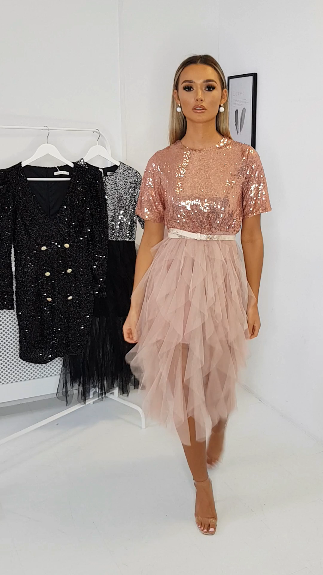 IKRUSH Womens Roxi Tulle Sequin Midi Dress