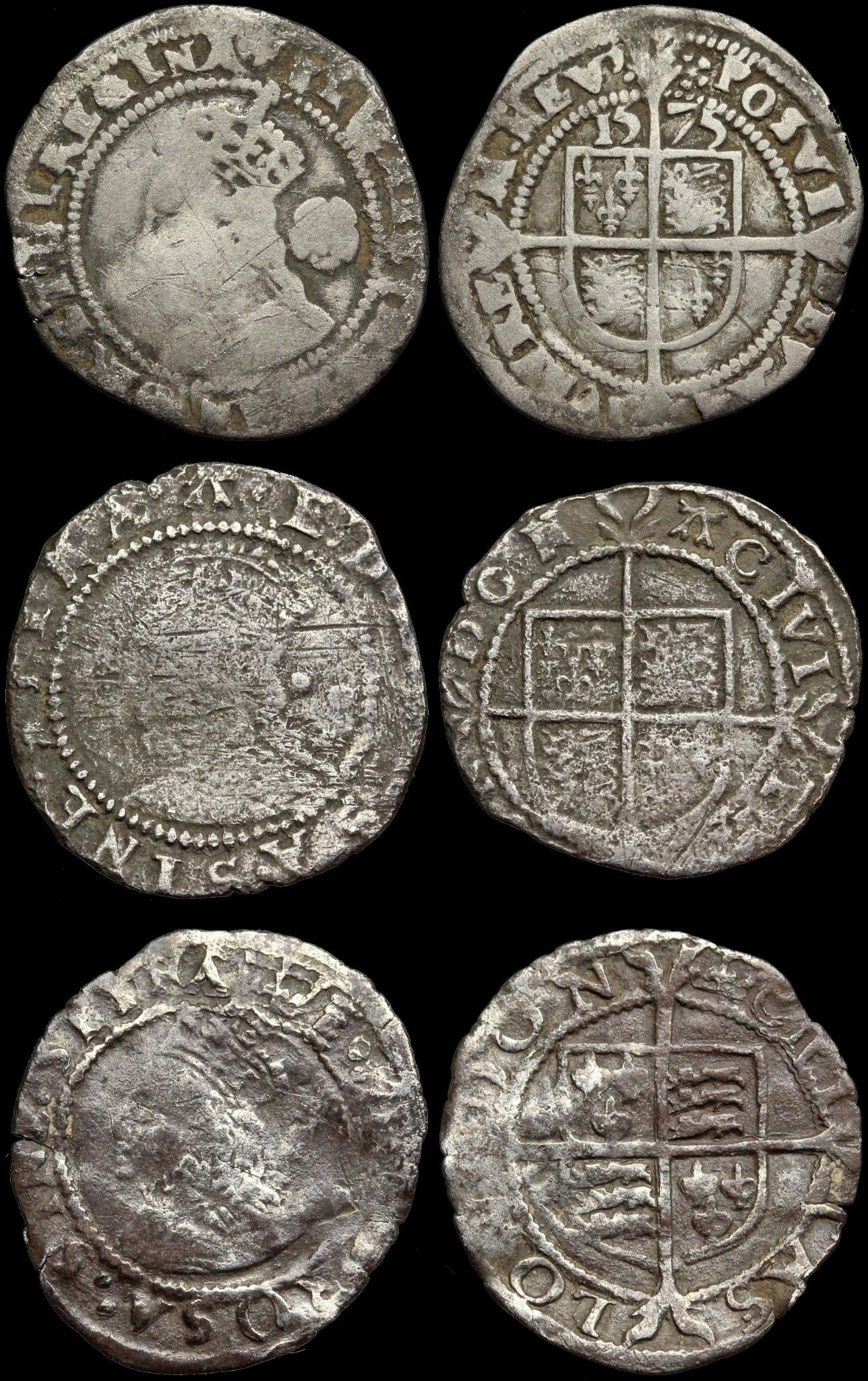 A Silver Tudor Penny Two Pence Three From The Reign Of