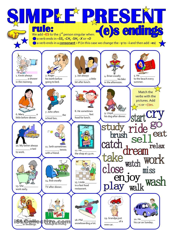 Present Simple Es Endings Simple Presents Worksheets For Kids [ 1440 x 1018 Pixel ]