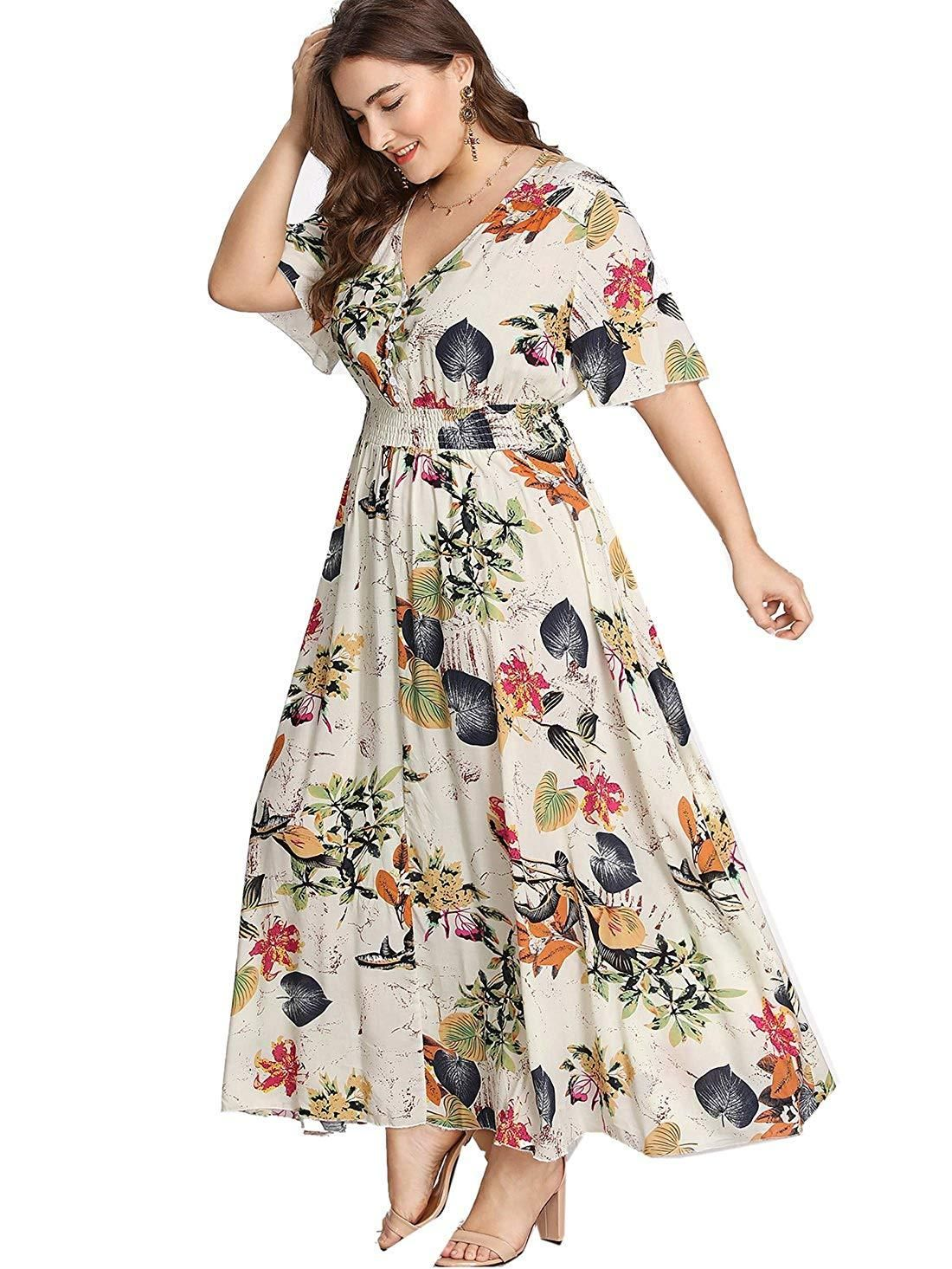 Romwe Women\'s Plus Size Floral Print Buttons Short Sleeve V ...