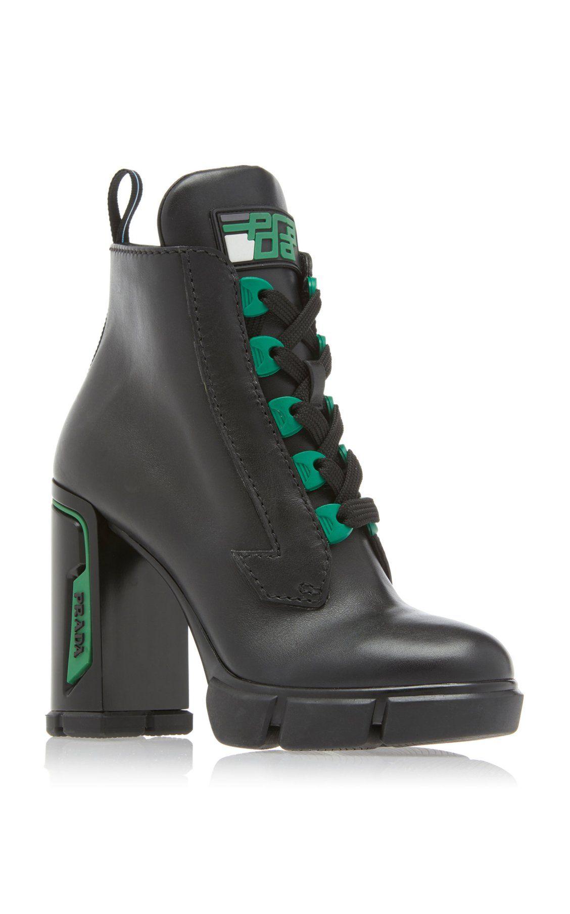 746d6f4469 Tronchetti Leather Ankle Boots by Prada | Moda Operandi ...