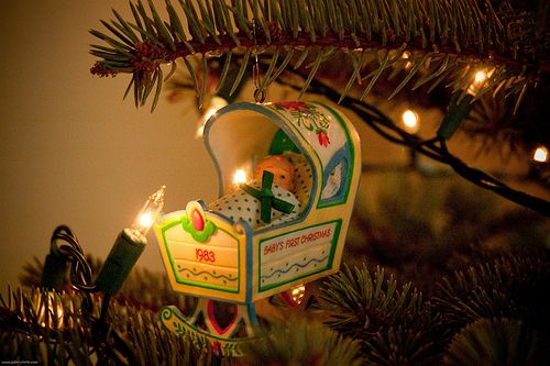 """I want to find a """"Babies First Christmas"""" ornament like this.  I guess they had cooler ones in the 80s."""