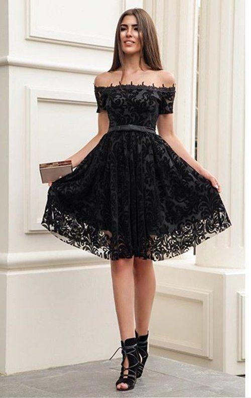 Siyah Flok Baski Dantel Abiye Elbise Mini Elbise Elbise Siyah Mini Elbiseler
