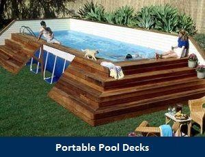 Portable Pool Decks In Ground Pools Backyard Backyard Pool