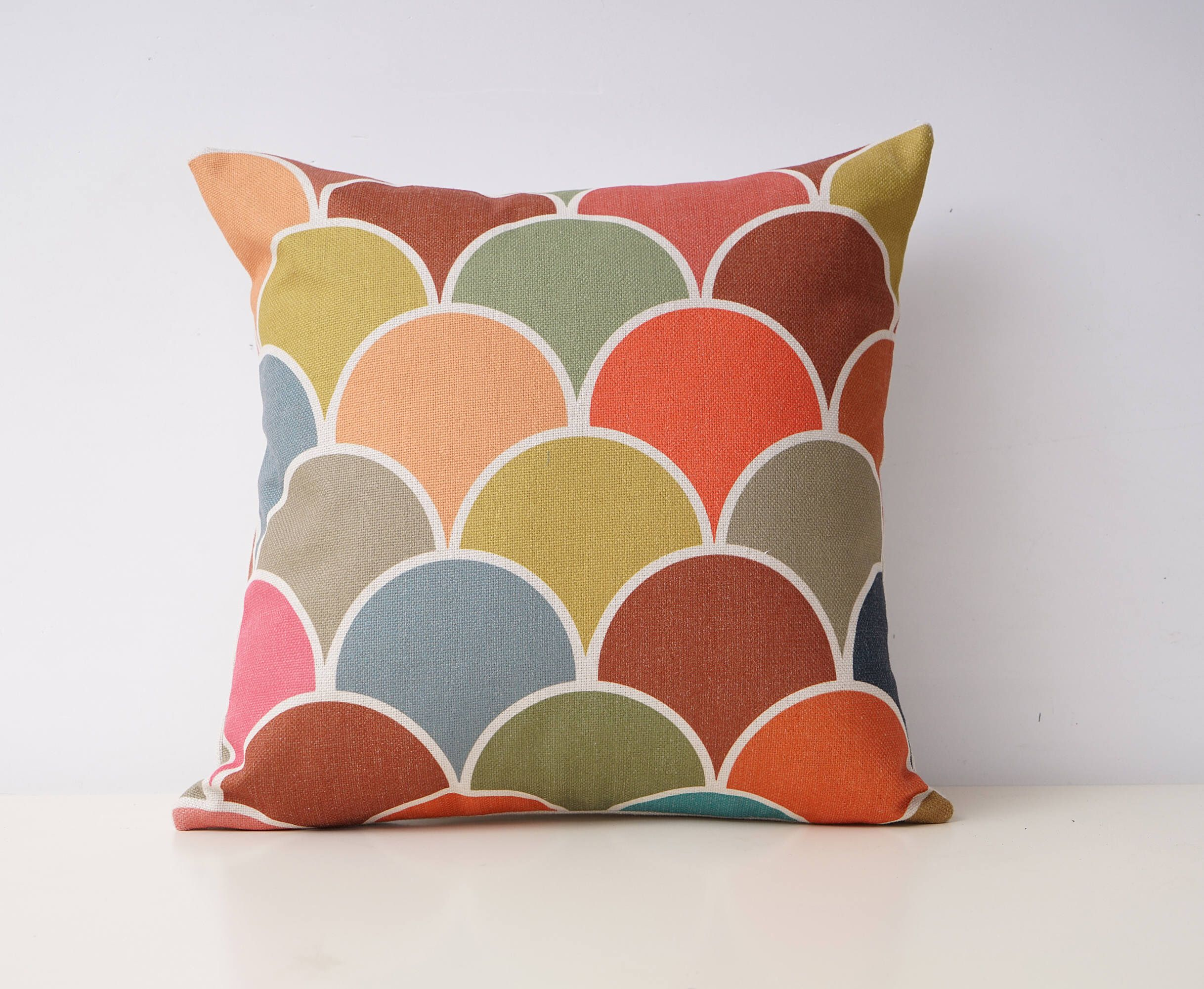Seamless Decorative Pillow Cover Mermaid Scales Throw Pillow Covers Linen Colorful Cushion Case Sof Decorative Pillow Covers Throw Pillows Colourful Cushions