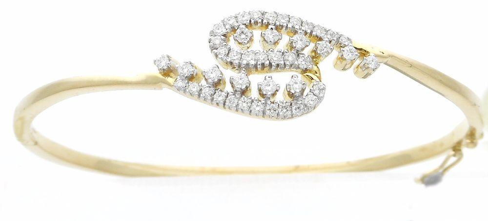 18K Yellow Gold Womens Fancy Bracelet Round Diamond G vs 0 51 Ct