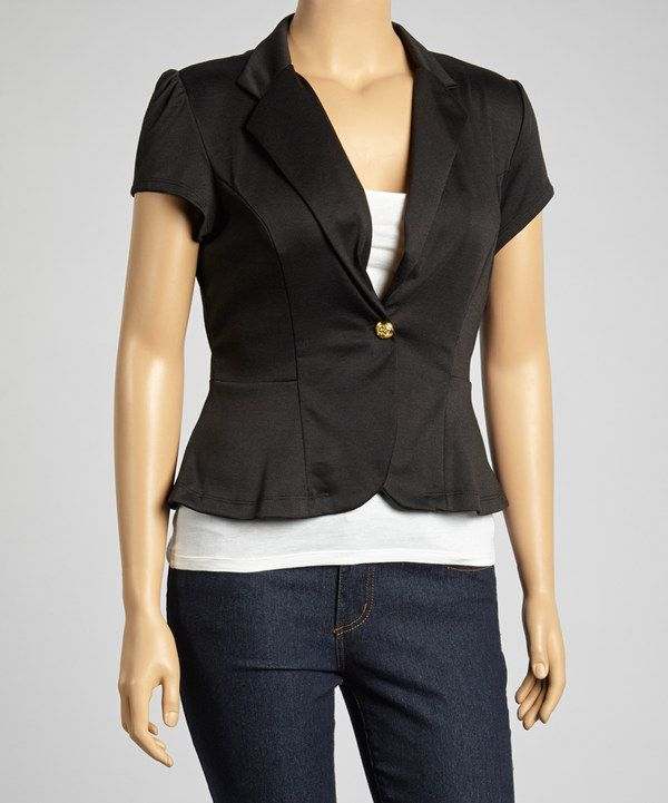 Black cap sleeve jacket