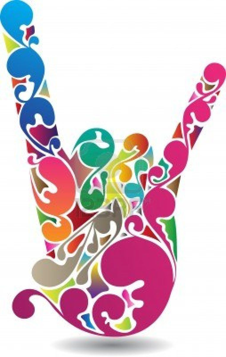 Colorful Music Symbols Art Of A Rock Symbol Hand With Colorful