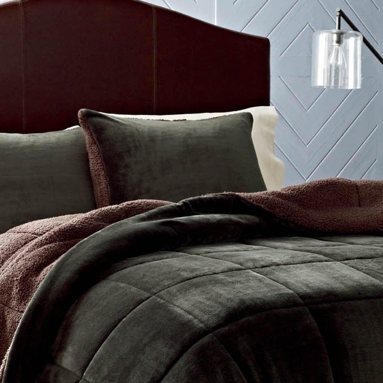 eddie bauer premium fleece comforter set, full/queen, pine green