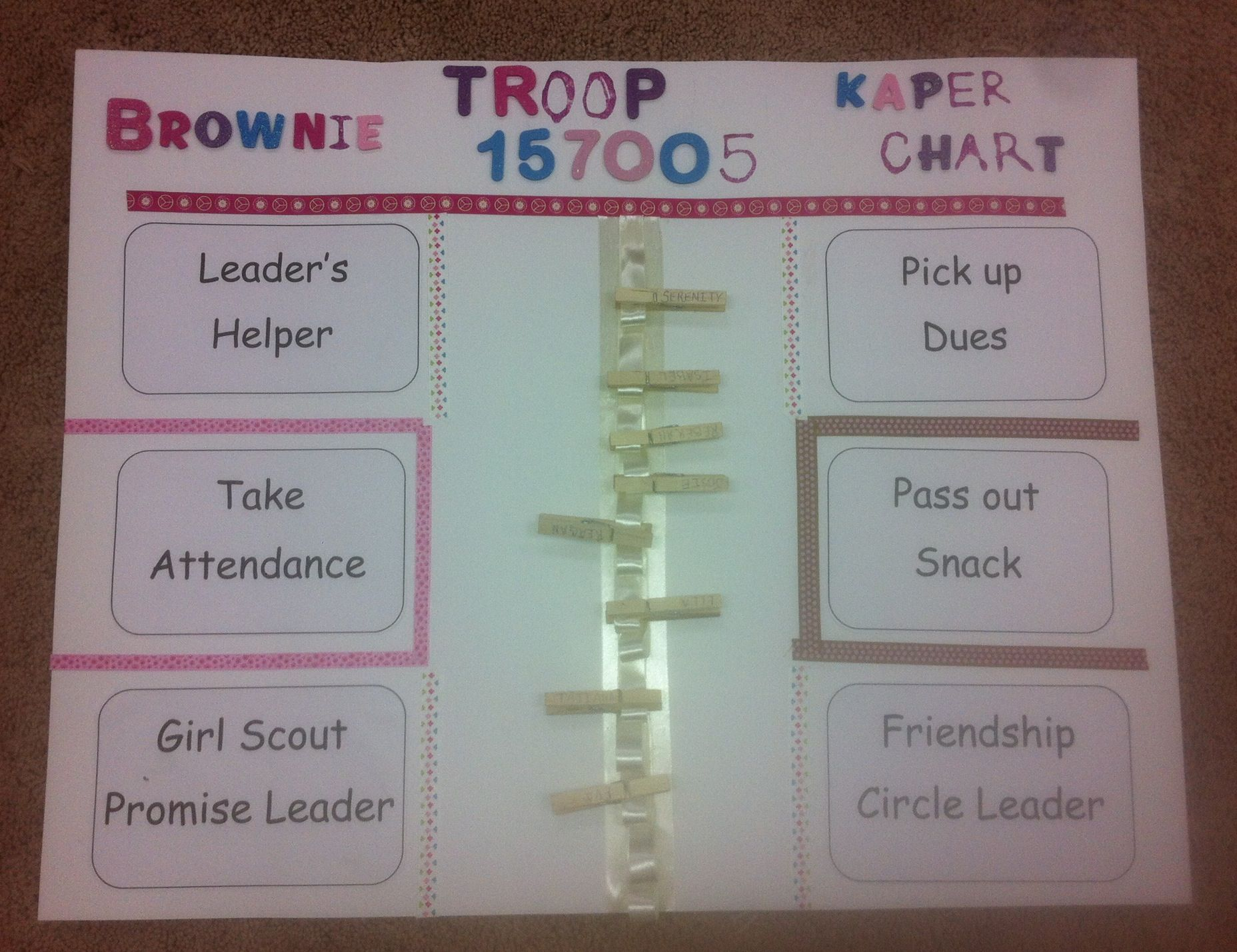 This Is The Kaper Chart I Made For Our Brownie Troop We Wanted To