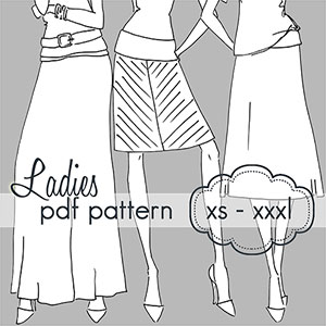 Jocole Ladies Yoga A-Line Skirt Sewing Pattern