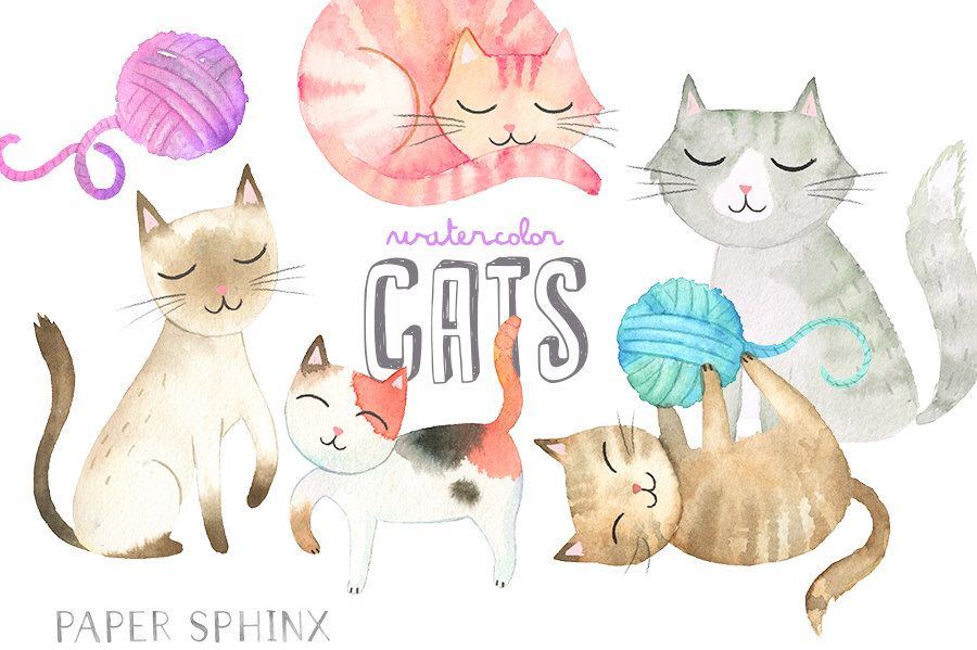 Watercolor Cats Clipart Kitten Clip Art Mommy And Baby Cat