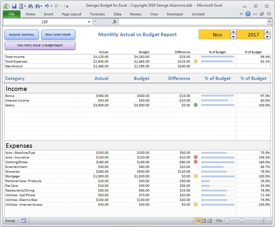 Georges Budget For Excel V12 0 Budget Spreadsheet Budgeting