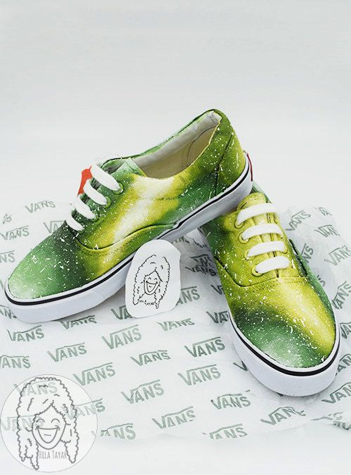 51534abcc2fa Lime Galaxy Shoes   Stunning drawings on sneakers shoes made by the artist  Hila Tayar