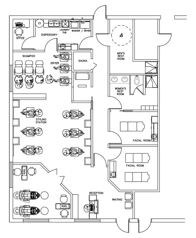 beauty salon floor plan design layout - 1700 square foot | future