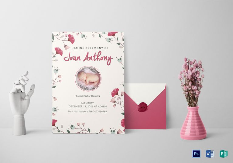 Happiest Naming Ceremony Invitation Template  Invitation Card