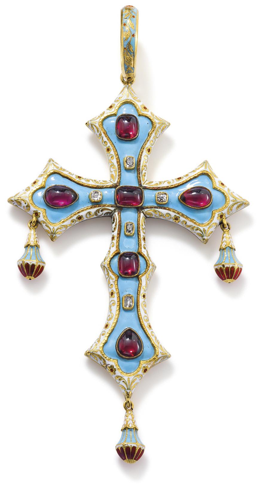 A rubellite and enamel cross pendant the opaque light blue enamel