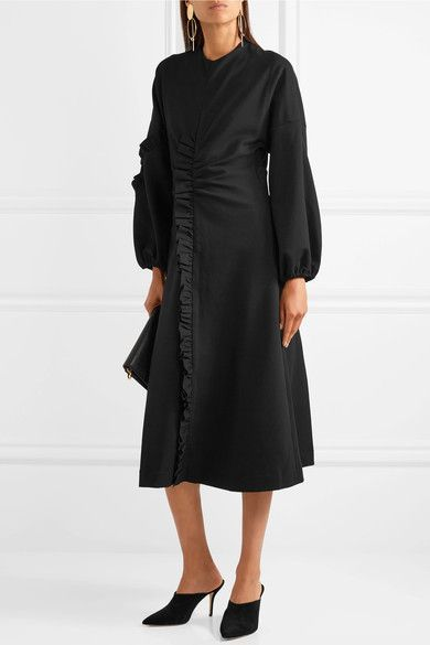 Open-back Ruffed Stretch-jersey Midi Dress - Black Tibi qsQKUiFuL