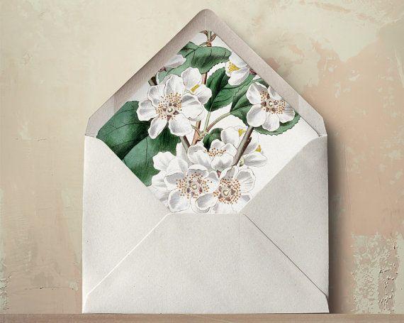 Plum Blossom Envelope Liners DIY Printable Wedding Invitations and