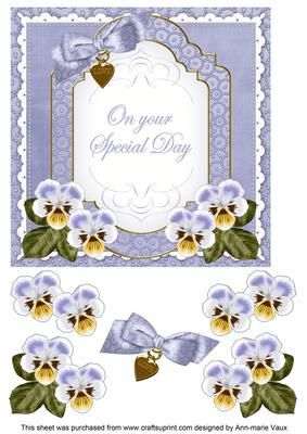 Pale Blue Pansy Special Day Fancy 7in Decoupage Topper on Craftsuprint - Add To Basket!