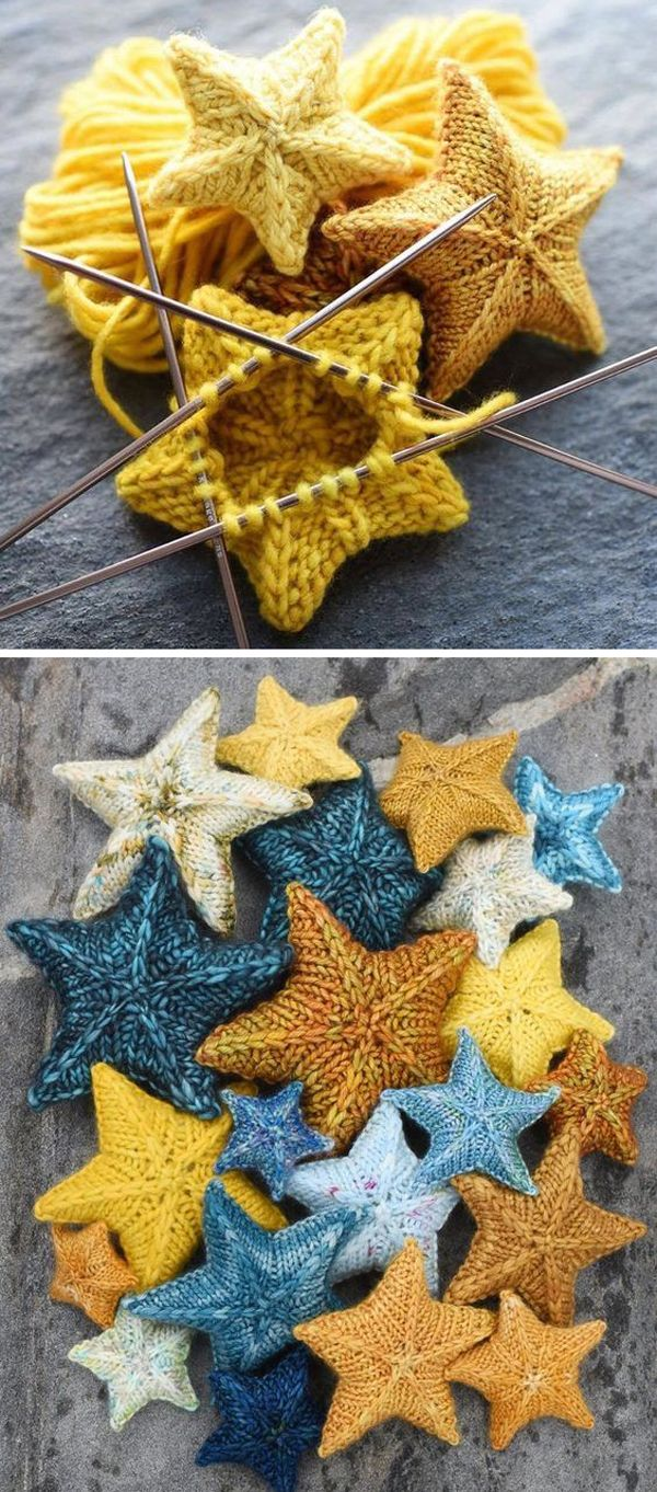 Knit Stars - Free Pattern  #freeknittingpatterns