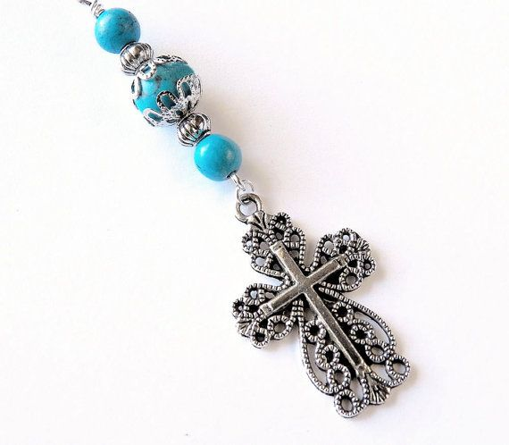 Filigree Cross Rear View Mirror Charm/Key by CarCharmShop on Etsy