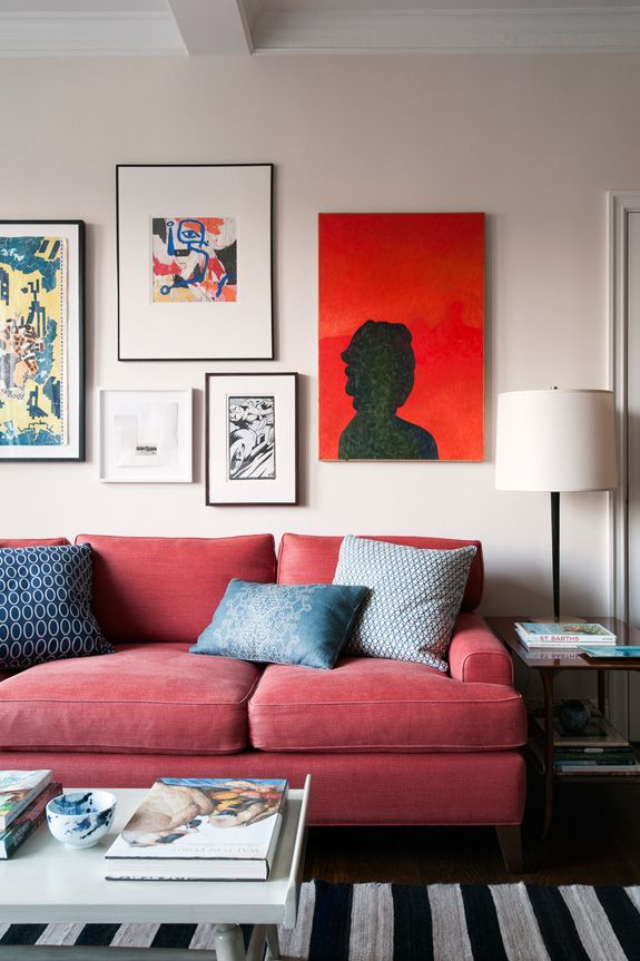 How To Match A Roomu0027s Colors With Bold Fabric | Living Room Red, Diana And  Living Rooms