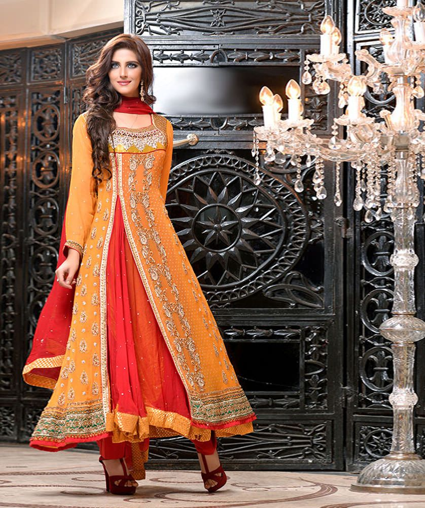9fa734e6c59 This dress surely has what it takes to look like a complete Pakistani  Bright. The look of Angrakha gives it a desi look. The mishmash of Red and  Orange with ...