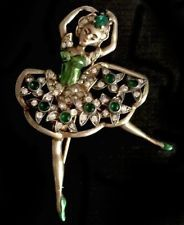 EISENBERG Sterling Metallic Green Enamel Emerald Green & Diamante Ballerina Pin