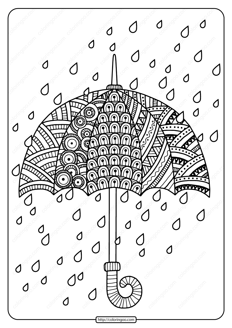 Printable Rain Drops With Umbrella Coloring Page High Quality Free Printable Coloring Drawing In 2020 Umbrella Coloring Page Spring Coloring Pages Coloring Pages