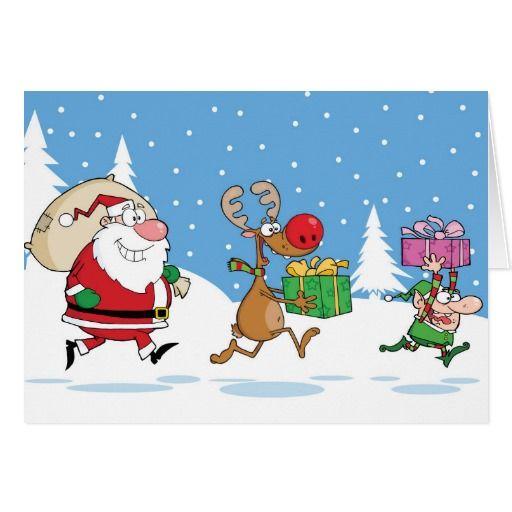 Reindeer, Elf And Santa Claus Carrying Christmas Card