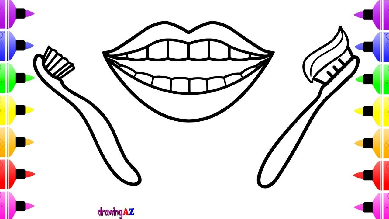 Teeth and Toothbrush for Children Coloring and Art Colors