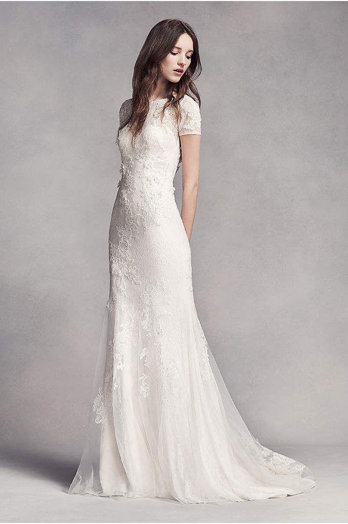 White By Vera Wang Twill Gazar Lace Wedding Dress Short Sleeve