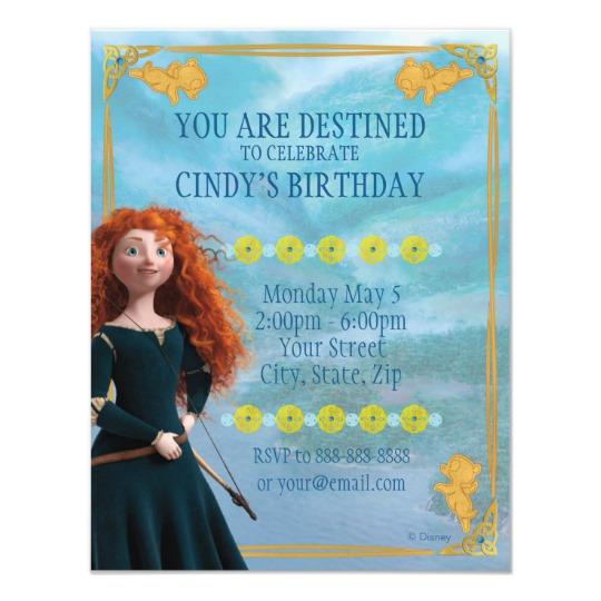 brave merida  birthday invitation  zazzle  birthday