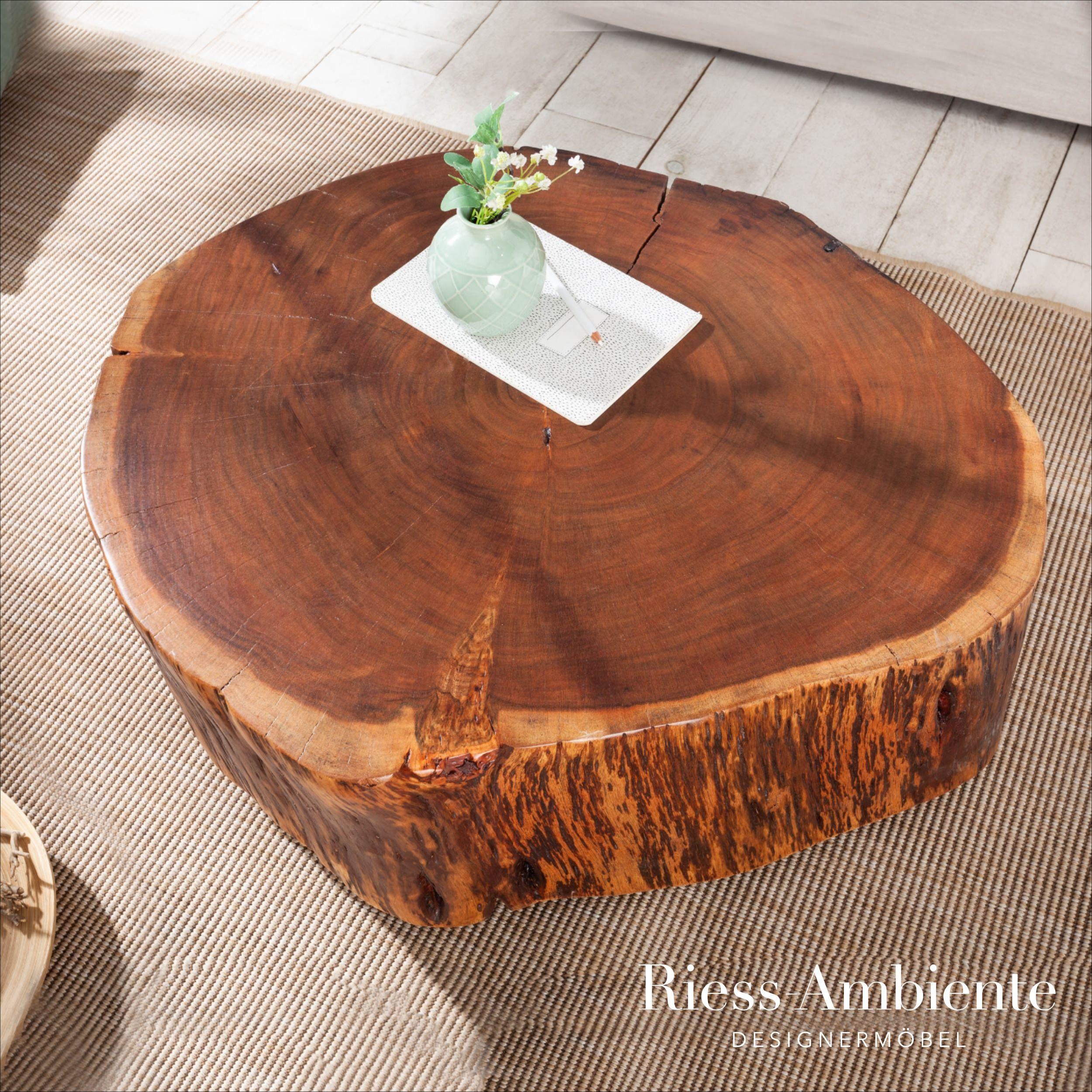 Massiver Couchtisch Goa 70cm Natur Akazie Baumstamm Mit Rollen Unikat Riess Ambiente De Couchtisch Baumstamm Wohnzimmertische
